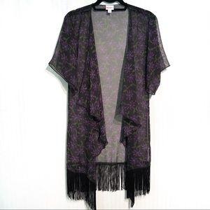 LuLaRoe Monroe Fringed Kimono Size 0-12